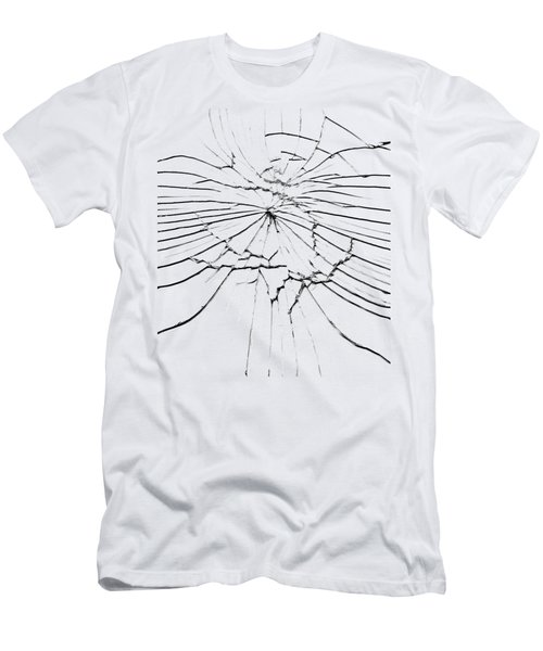 Men's T-Shirt (Slim Fit) featuring the photograph Shattered Glass - Cracks And Shards by Michal Boubin