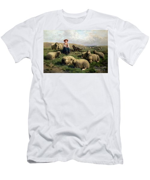 Shepherdess With Sheep In A Landscape Men's T-Shirt (Athletic Fit)