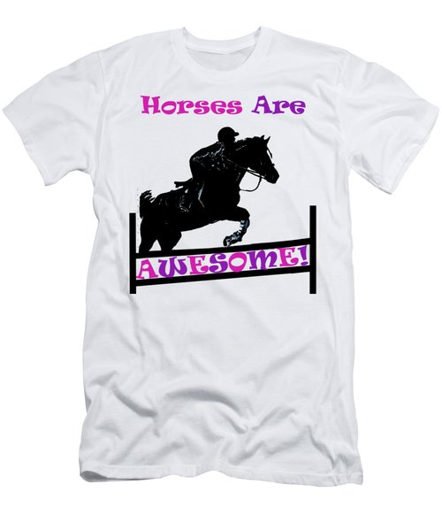 Horses Are Awesome Men's T-Shirt (Slim Fit) by Patricia Barmatz