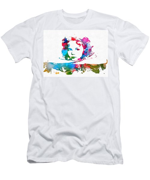 Shirley Temple Watercolor Paint Splatter Men's T-Shirt (Slim Fit) by Dan Sproul