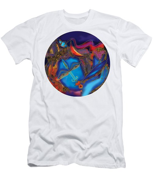 Shiva Blowing The Horn Men's T-Shirt (Athletic Fit)