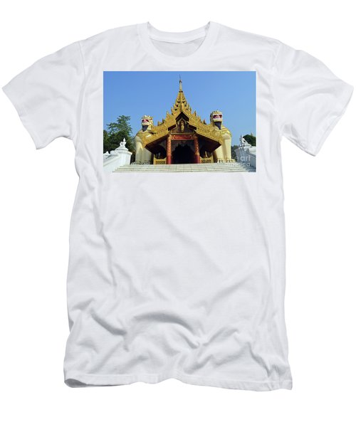 Men's T-Shirt (Slim Fit) featuring the digital art Shwedagon Pagoda 4 by Eva Kaufman