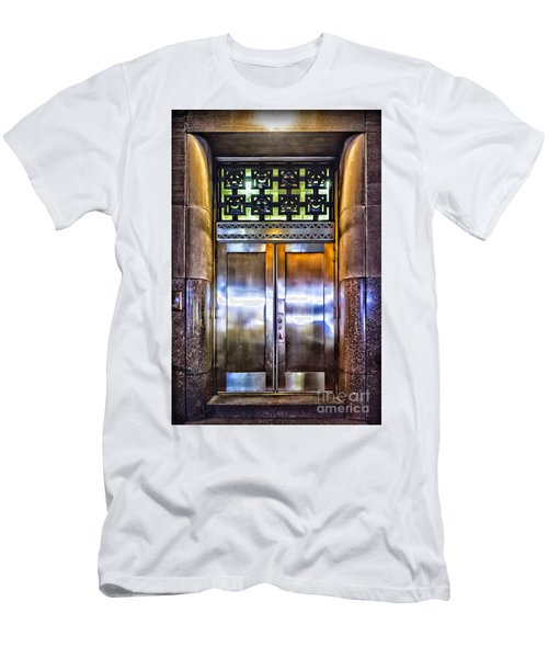 Men's T-Shirt (Slim Fit) featuring the photograph Sights In New York City - Bright Door by Walt Foegelle