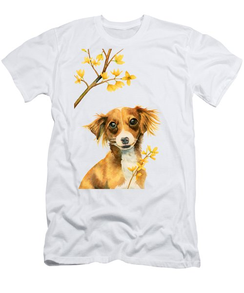Signs Of Spring - Cute Dog With Forsythia Watercolor Painting Men's T-Shirt (Athletic Fit)