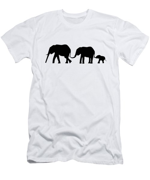 Silhouettes Of 3 Elephants Holding Tails  Men's T-Shirt (Athletic Fit)