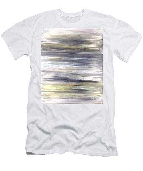 Silver Coast #26 Silver Teal Landscape Original Fine Art Acrylic On Canvas Men's T-Shirt (Athletic Fit)