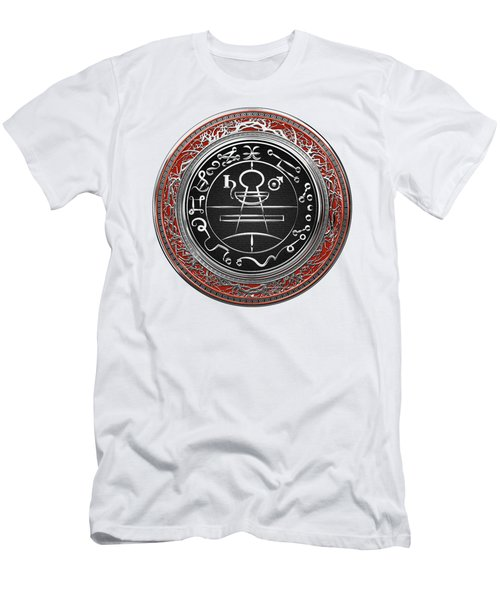 Silver Seal Of Solomon - Lesser Key Of Solomon On White Leather  Men's T-Shirt (Athletic Fit)