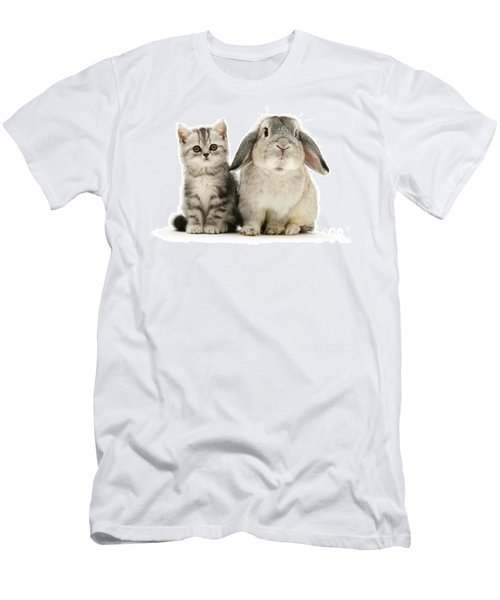 Silver Tabby And Rabby Men's T-Shirt (Athletic Fit)