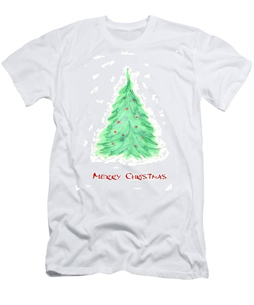 Men's T-Shirt (Slim Fit) featuring the painting Simple Christmas Card 2 by Marna Edwards Flavell