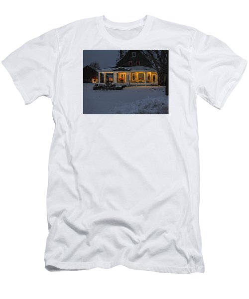 Men's T-Shirt (Slim Fit) featuring the photograph Simply Elegant Porch by Judy Johnson