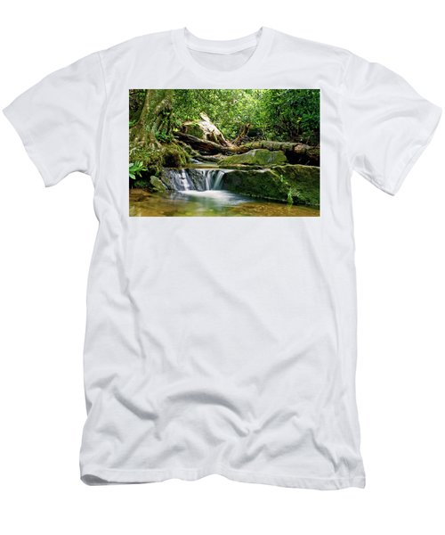 Men's T-Shirt (Slim Fit) featuring the photograph Sims Creek Waterfall by Meta Gatschenberger