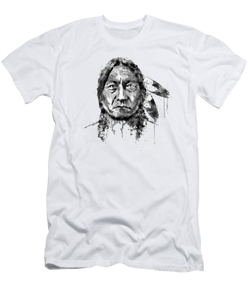 Sitting Bull Black And White Men's T-Shirt (Slim Fit) by Marian Voicu