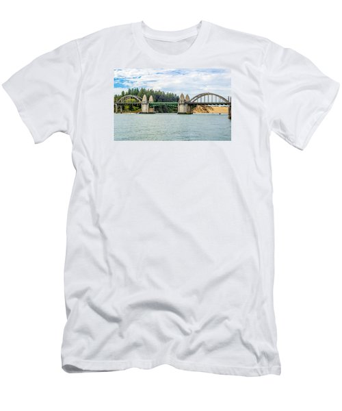 Men's T-Shirt (Slim Fit) featuring the tapestry - textile Siuslaw River Draw Bridge  by Dennis Bucklin