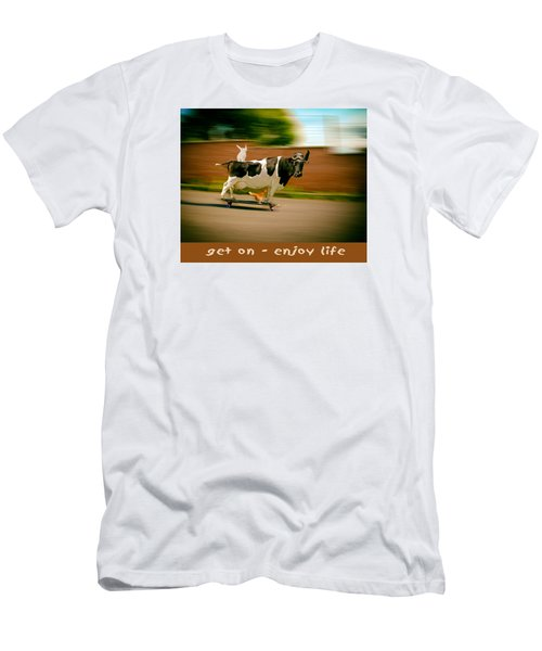 Skateboarding Cow And Pals Men's T-Shirt (Slim Fit) by James Bethanis