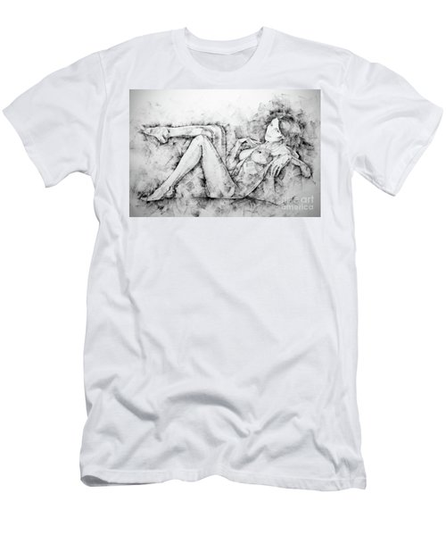 Sketchbook Page 46 Drawing Woman Classical Sitting Pose Men's T-Shirt (Athletic Fit)
