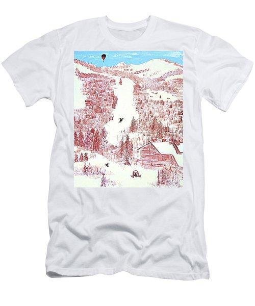 Skiing Deer Valley Utah Men's T-Shirt (Slim Fit) by Richard W Linford