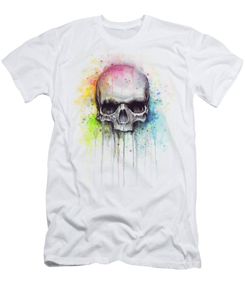 Skull Watercolor Painting Men's T-Shirt (Slim Fit) by Olga Shvartsur