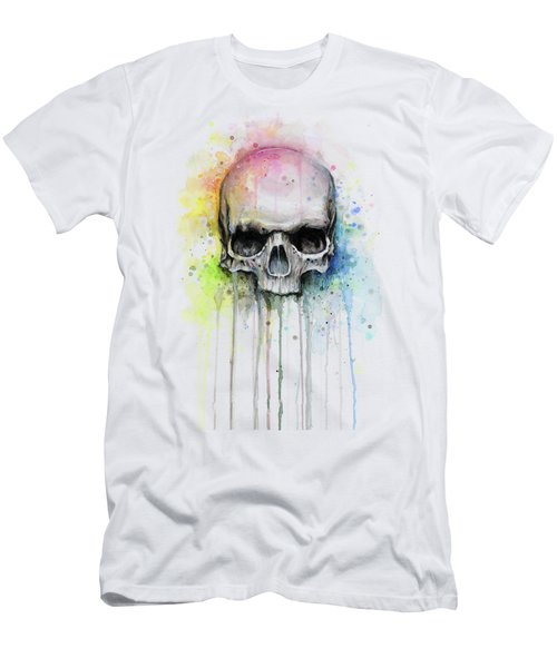 Skull Watercolor Rainbow Men's T-Shirt (Athletic Fit)