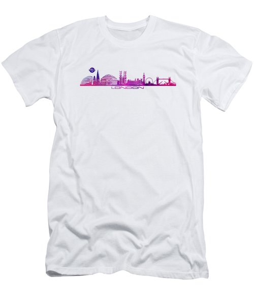 skyline city London purple Men's T-Shirt (Slim Fit) by Justyna JBJart