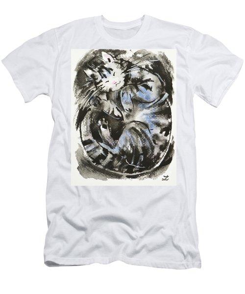Men's T-Shirt (Slim Fit) featuring the painting Sleeping Tabby Cat by Zaira Dzhaubaeva