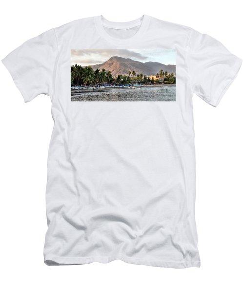 Sleepy Fishing Village Men's T-Shirt (Slim Fit) by Jim Walls PhotoArtist