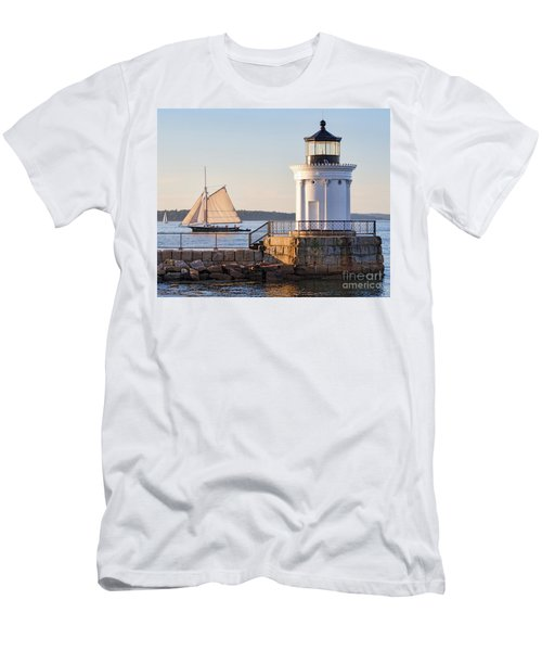 Sloop And Lighthouse, South Portland, Maine  -56170 Men's T-Shirt (Athletic Fit)