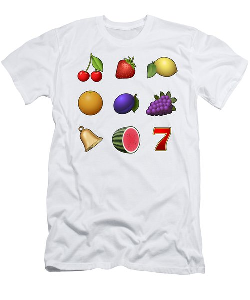 Slot Machine Fruit Symbols Men's T-Shirt (Slim Fit) by Miroslav Nemecek