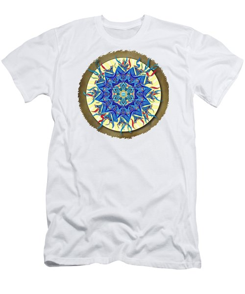 Men's T-Shirt (Slim Fit) featuring the digital art Smiling Blue Moon Mandala by Deborah Smith