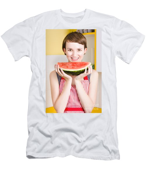 Smiling Young Woman Eating Fresh Fruit Watermelon Men's T-Shirt (Athletic Fit)