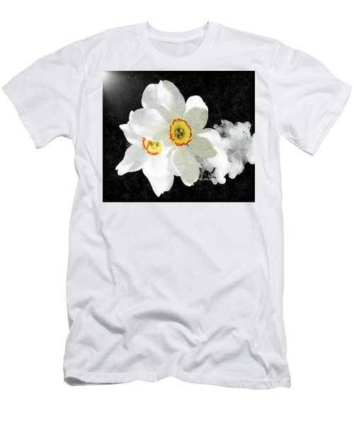 Smokey White Floral Men's T-Shirt (Athletic Fit)