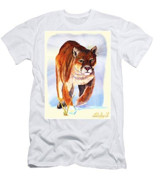 Snow Cougar Men's T-Shirt (Slim Fit) by Sherril Porter