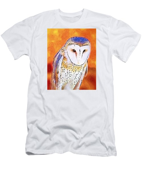 Men's T-Shirt (Slim Fit) featuring the digital art White Face Barn Owl by Tracie Kaska