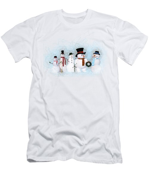 Men's T-Shirt (Slim Fit) featuring the painting Snowmen by Methune Hively