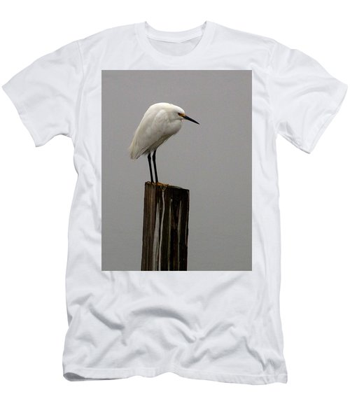 Snowy Egret In The Fog  Men's T-Shirt (Athletic Fit)
