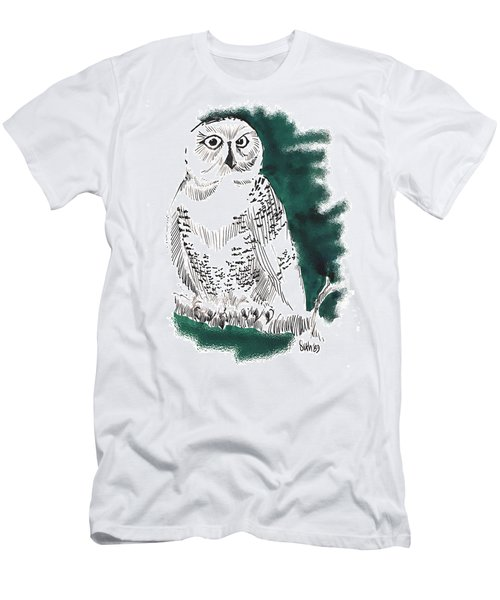 Men's T-Shirt (Slim Fit) featuring the drawing Snowy Owl II by Seth Weaver