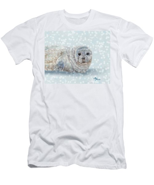 Men's T-Shirt (Athletic Fit) featuring the painting Snowy Seal by Angeles M Pomata