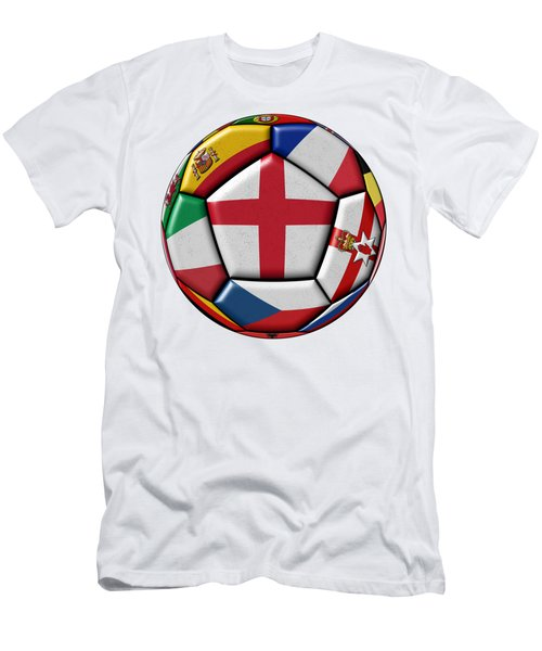 Soccer Ball With Flag Of England In The Center Men's T-Shirt (Slim Fit) by Michal Boubin