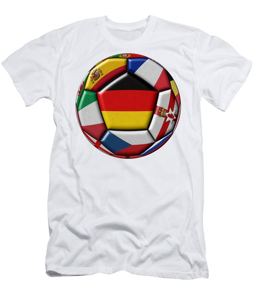 Soccer Ball With Flag Of German In The Center Men's T-Shirt (Slim Fit) by Michal Boubin