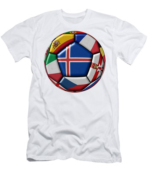 Soccer Ball With Flag Of Iceland In The Center Men's T-Shirt (Slim Fit) by Michal Boubin