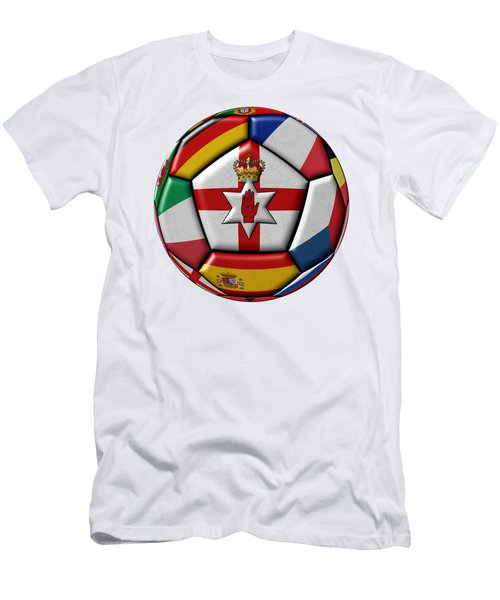 Soccer Ball With Flag Of Northern Ireland In The Center Men's T-Shirt (Athletic Fit)