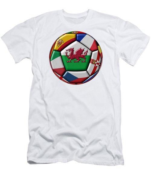 Soccer Ball With Flag Of Wales In The Center Men's T-Shirt (Slim Fit) by Michal Boubin