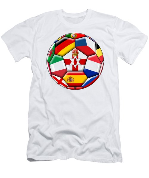 Soccer Ball With Flags - Flag Of  Northern Ireland In The Center Men's T-Shirt (Athletic Fit)