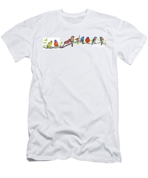 Songbirds On A Leafy Branch Men's T-Shirt (Slim Fit) by Bonnie Barry
