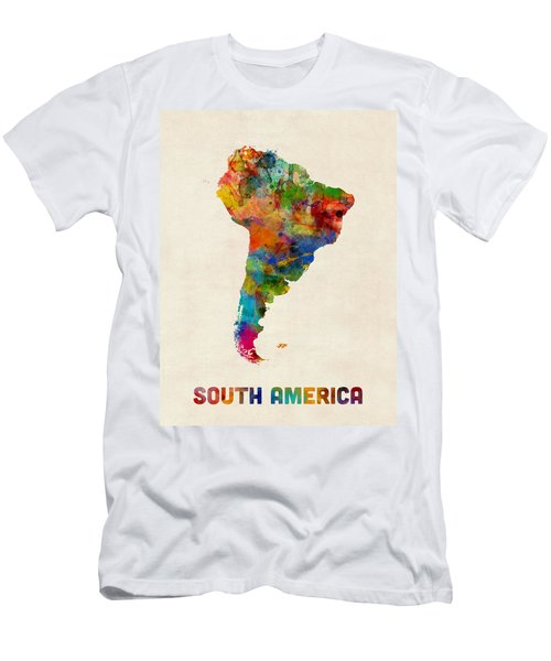 South America Watercolor Map Men's T-Shirt (Athletic Fit)