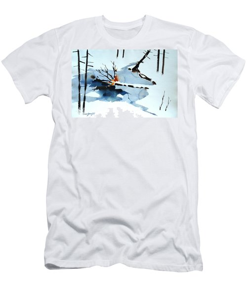 Men's T-Shirt (Slim Fit) featuring the painting Southern Vermont Roadside Runoff by Len Stomski