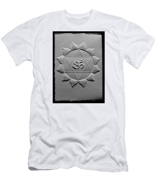 Men's T-Shirt (Slim Fit) featuring the relief Spiritual Om Yantra by Suhas Tavkar