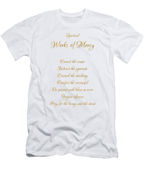 Spiritual Works Of Mercy White Background Men's T-Shirt (Athletic Fit)