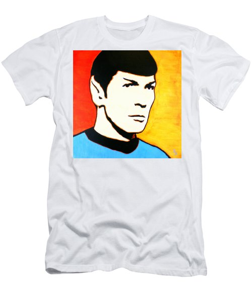 Men's T-Shirt (Athletic Fit) featuring the painting Spock Vulcan Star Trek Pop Art by Bob Baker