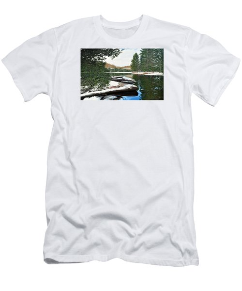 Men's T-Shirt (Slim Fit) featuring the painting Spring Breakup by Kenneth M Kirsch
