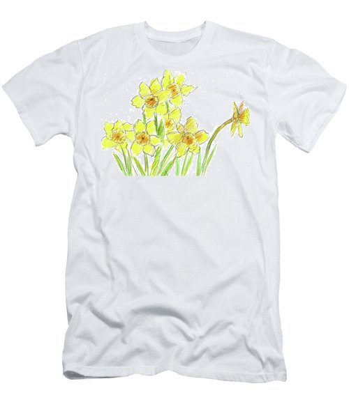 Men's T-Shirt (Slim Fit) featuring the painting Spring Daffodils by Cathie Richardson